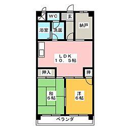 エトワール八田[4階]の間取り