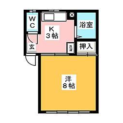 ハマシン狐ヶ崎マンション A[1階]の間取り