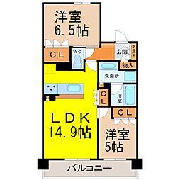 愛知県名古屋市千種区豊年町の賃貸マンションの間取り