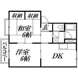 静岡県浜松市中区高丘東2丁目の賃貸アパートの間取り