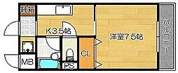 大阪府茨木市北春日丘4丁目の賃貸マンションの間取り