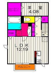 ファテシア上の台II 2階1LDKの間取り