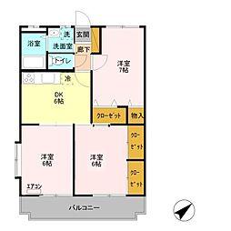 埼玉県鴻巣市宮前の賃貸マンションの間取り