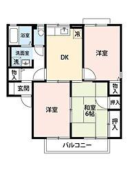 福岡県北九州市小倉南区上吉田3丁目の賃貸アパートの間取り