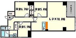 Marks 四天王寺東門 2階3LDKの間取り