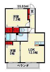 エクシードOGURA B棟[1階]の間取り
