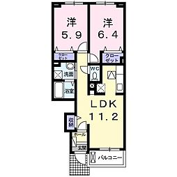 ロータス南島田E[105号室]の間取り