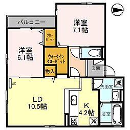 仮称)D-ROOM桑田町[205号室]の間取り