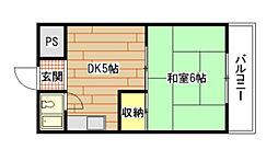 広島県広島市中区吉島西1丁目の賃貸マンションの間取り