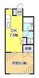 東京都東村山市富士見町3丁目の賃貸マンションの間取り