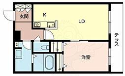 JR阪和線 三国ヶ丘駅 徒歩5分の賃貸マンション 1階1LDKの間取り