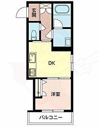 JR阪和線 鳳駅 徒歩3分の賃貸マンション 3階1DKの間取り