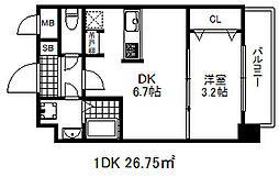 ソアシンナガタ 2階1DKの間取り