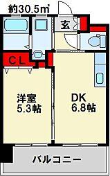 フェルト127 15階1DKの間取り