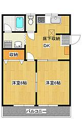 平出町 2DK アパート[1階]の間取り