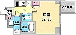 ファステート神戸ティアモ 2階1Kの間取り