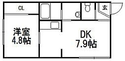 北海道札幌市豊平区月寒西一条6丁目の賃貸アパートの間取り