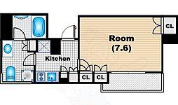 パークハビオ中目黒 3階1Kの間取り