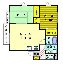 福岡県福岡市東区和白東2丁目の賃貸アパートの間取り