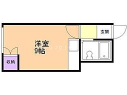 リバーサイド14 3階ワンルームの間取り
