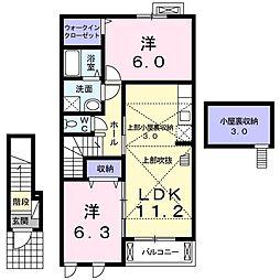 茨城県かすみがうら市上稲吉の賃貸アパートの間取り