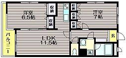 東京都世田谷区給田4の賃貸マンションの間取り