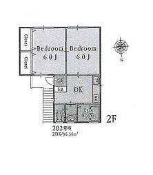 〜南西角部屋の明るいお部屋 O・PARK〜[2階号室]の間取り