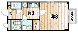 福岡県北九州市小倉南区長尾2丁目の賃貸アパートの間取り