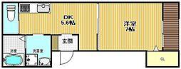 D-room甲子園[1階]の間取り