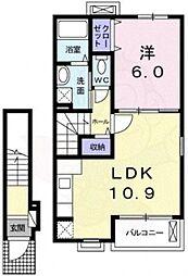 南海高野線 初芝駅 徒歩14分の賃貸アパート 2階1LDKの間取り