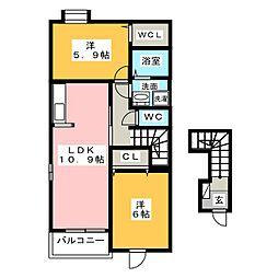 エスポワ ドゥ サントゥール[2階]の間取り