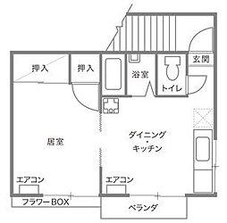 福岡県福岡市中央区荒戸3丁目の賃貸アパートの間取り