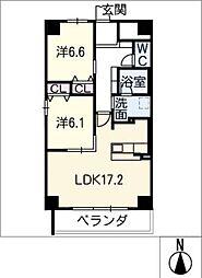 GRAN R TATSUMI 4階2LDKの間取り