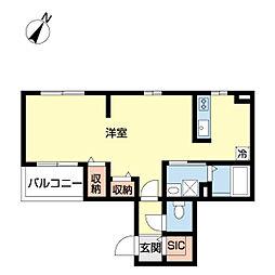 JR武蔵野線 南流山駅 徒歩16分の賃貸アパート 3階1LDKの間取り