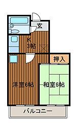 神奈川県相模原市南区古淵6丁目の賃貸マンションの間取り