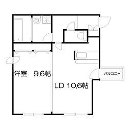札幌市営東西線 円山公園駅 徒歩7分の賃貸マンション 1階1LDKの間取り