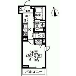 東急世田谷線 下高井戸駅 徒歩5分の賃貸マンション 3階1Kの間取り