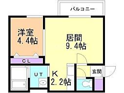 JR千歳線 恵庭駅 徒歩24分の賃貸アパート 1階1LDKの間取り