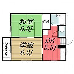 千葉県成田市三里塚の賃貸マンションの間取り