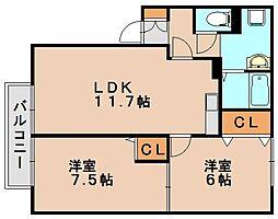 ロワドミール[1階]の間取り