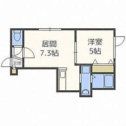 北海道札幌市東区北四十三条東16丁目の賃貸アパートの間取り