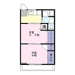 埼玉県春日部市中央6丁目の賃貸アパートの間取り