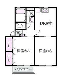 東京都練馬区上石神井4丁目の賃貸アパートの間取り