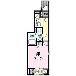 西武多摩湖線 一橋学園駅 徒歩14分の賃貸アパート 1階1Kの間取り