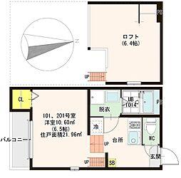 S)ハーモニーテラス横枕 2階1SKの間取り