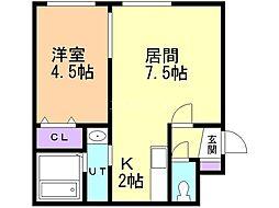 ヌーン澄川 4階1LDKの間取り