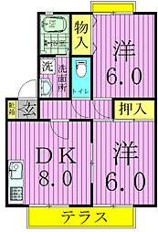 クレージュ3[1階]の間取り