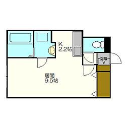 札幌市営東西線 新さっぽろ駅 バス33分 大曲下車 徒歩5分の賃貸アパート 2階1Kの間取り