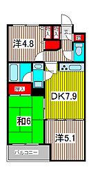 埼玉県さいたま市緑区原山3丁目の賃貸マンションの間取り