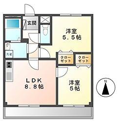 日映マンションIII[5階]の間取り